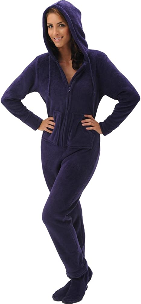 Alexander Del Rossa Women's Warm Fleece One Piece Footed Pajamas, Adult Onesie with Hood