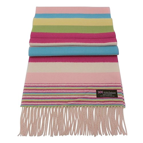 Rosemarie Collections 100% Cashmere Winter Scarf Made In Scotland (Pastel - Scarf Holiday Stripe