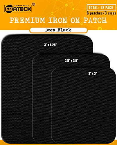 Ebateck Iron On Patches Black Denim for Clothes - Fabric Repair Patch kit for Clothing Pants Jeans - Large Size for Men, Woman, Girls, Kids - Super Strong (Upgrade Adhesive 0.12) with 18 Pack