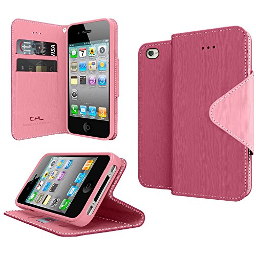 GPL Cellto Apple iPhone 4 iPhone 4S Premium Wallet Case [Dual Magnetic Flap] Diary Cover PU EPI Leather (Baby Pink Iphone 4 Case)