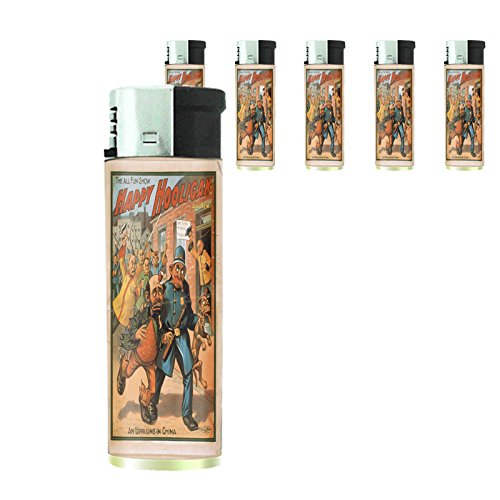 Refillable Electronic Lighter Set of 5 Pieces D-108 The All Fun Show Happy Hooligan An Uprising In China