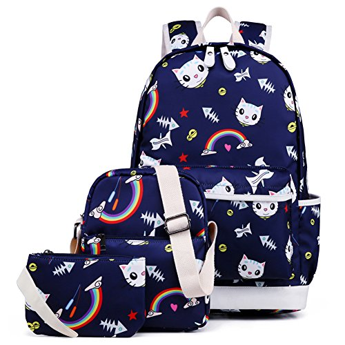 School Backpack for Girls, Kemy's Cat School Backpack and Lunch Bag Set 3 Pieces Cute Bookbag bag School Bag for Teen Girls Waterproof, Blue Rainbow