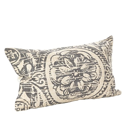 SARO LIFESTYLE Montpellier Collection Floral Distressed Design Down Filled Cotton Throw Pillow, 14