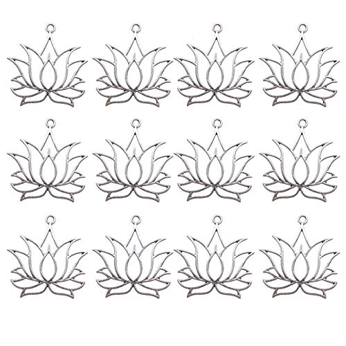 WSSROGY 20pcs Large Size 39x36mm Silver Lotus Flower Charms Yoga Charms Pendant for Jewelry Making, 1.6