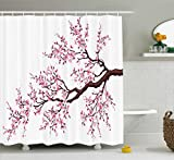 Cherry Blossom Shower Curtain Ambesonne Japanese Shower Curtain, Branch of a Flourishing Sakura Tree Flowers Cherry Blossoms Spring Theme Art, Fabric Bathroom Decor Set with Hooks, 70 Inches, Pink Dark Brown