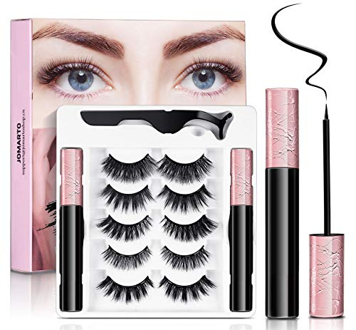 Magnetic Eyelashes with Eyeliner Kit, JOMARTO 5 Pairs Different Reusable Magnetic Lashes with 2 Tubes Magnetic Eyeliner and Tweezer, False Eyelashes Natural Look No Glue Needed