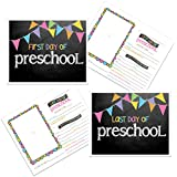 Denise Albright First Day & Last Day of School Photo Prop - Pastel Flag Chalkboard Text Choose from Preschool to College (Preschool)