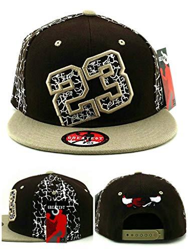 Greatest 23 Chicago New MJ Jordan Bulls Colors Alt Brown Tan Crackle Cement Era Snapback Hat Cap