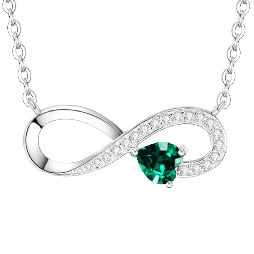 Green Emerald Gifts Love Infinity Jewelry for Wife for Women Love You Forever Birthday for Her Daughter Lady Sterling Silver Swarovski, 18''+2'' Chain