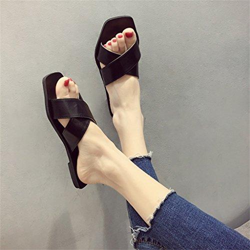 7 Tacón Estilo On 39 para Tamaño En De Verano EU Sandalias Plano US Cruzada Zapatos De Correa Negro Slip para con 5 Y Zapatillas Mujer Fiesta Caminar con YqBFwz
