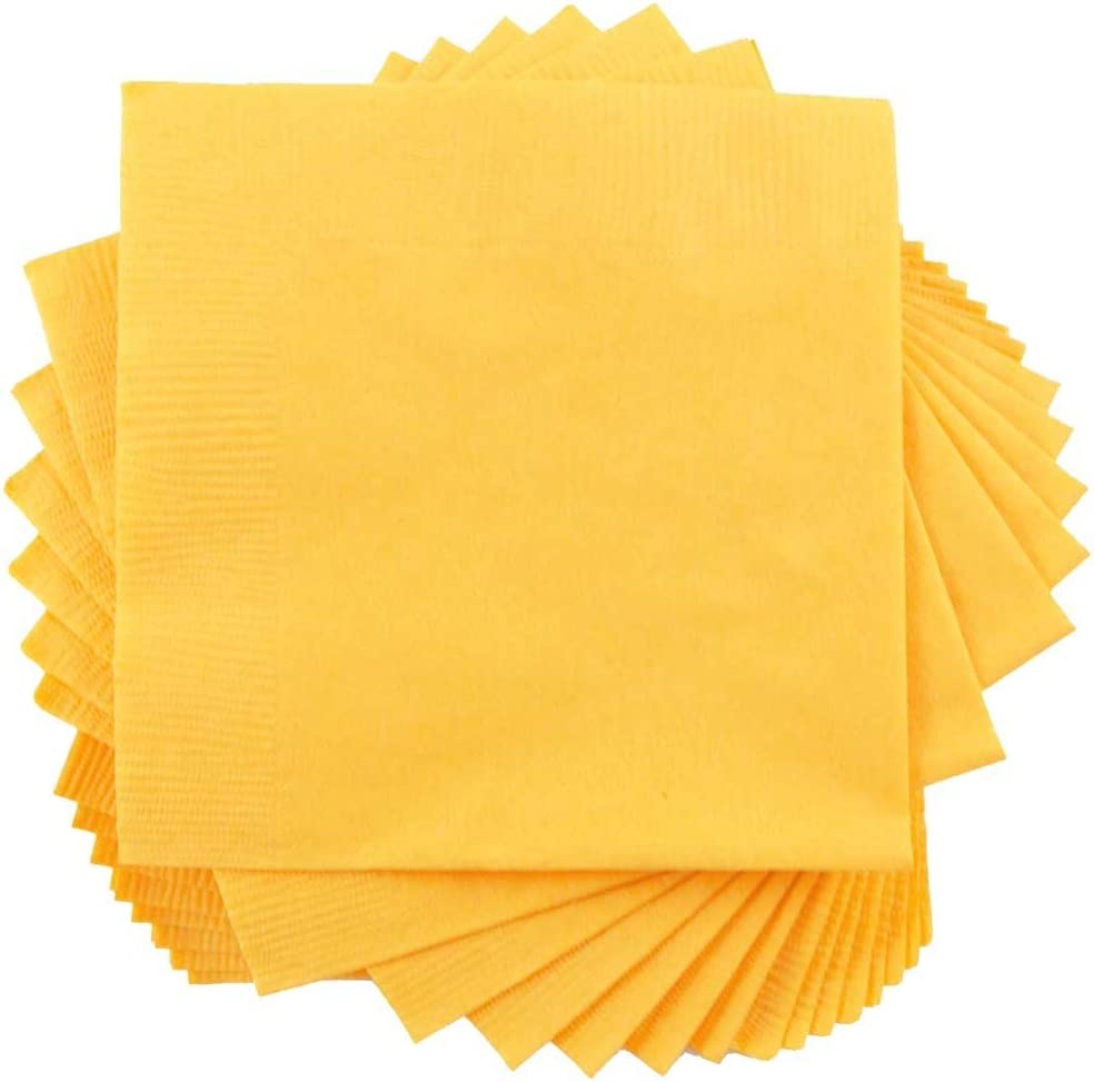 JAM PAPER Small Beverage Napkins - 5 x 5 - Yellow - 50/Pack