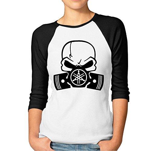 SAXON13 Women's Geek Y Skull Motorcycle Racers Raglan 3/4 Sleeve