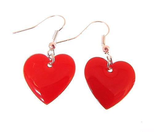 Bright red earrings Red teardrop earrings Red silver earrings
