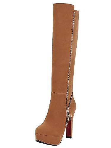 AIYOUMEI Damen Geschlossen Blockabsatz High Heels Kniehohe Stiefel mit Reißverschluss Warm Winter Plateau Stiefel Schuhe 7yBfzRg