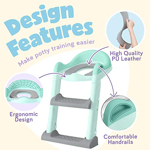 Baby Potty Training Toilet Seat, Anti-Slip Potty Training Seat With Ladder, Portable Potty for Toddler Travel, Green