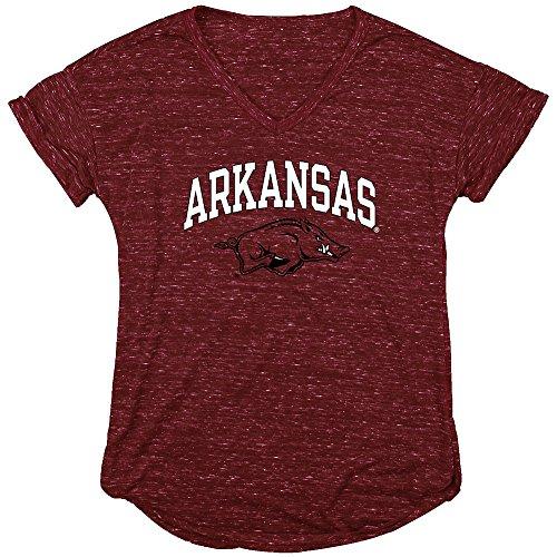 Elite Fan Shop Arkansas Razorbacks Womens Vneck TShirt Red - XL (Arkansas T-shirt Razorbacks Classic)