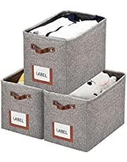 homwarmy Large Linen Storage Basket, Gray Storage Basket - Foldable Linen Storage Basket, Sturdy Linen Fabric Cube Container with Handle Organizers and Storage for Home, Toy, Office, Nursery(15.7inch x 9.8inch x 11inch)