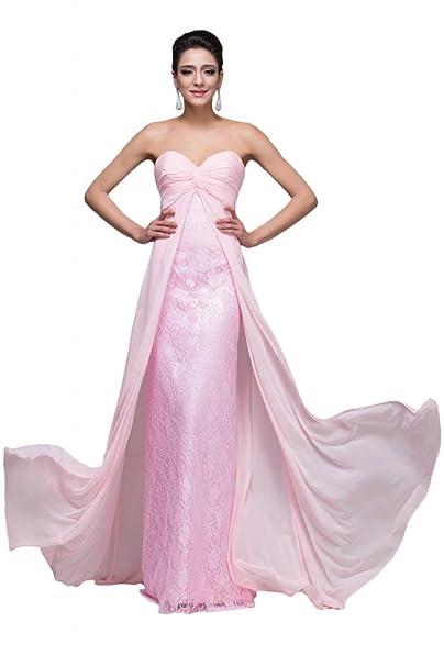 sunvary Rosa sweetheart gasa encaje vestidos de noche para novia elegante: Amazon.es: Ropa y accesorios