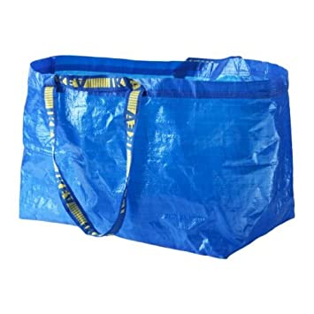 FRAKTA azul grande de compras, bolsa para ropa sucia SET OF 3, azul, Carrier bag large blue set of 3