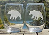 Bear Glasses, Rustic Cabin Decor, Mountain House, Set of 20oz Etched Glass