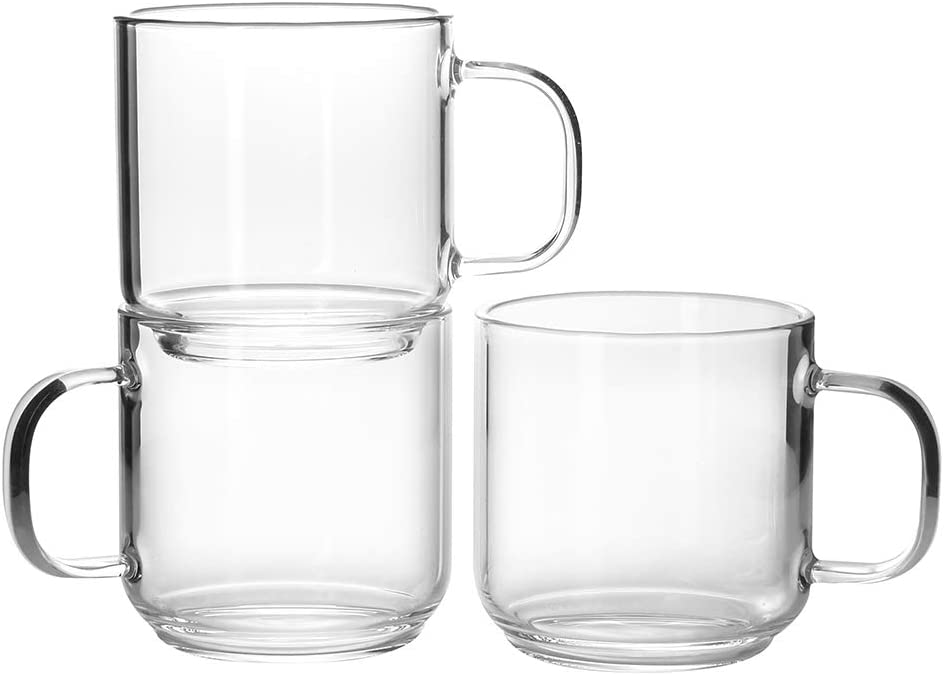 Enindel Espresso Glass Cups with Handle 4 OZ Single Wall Glass Mug Set of 6