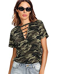 Women's Letter and Striped Mixed Print Crop Camo Tee