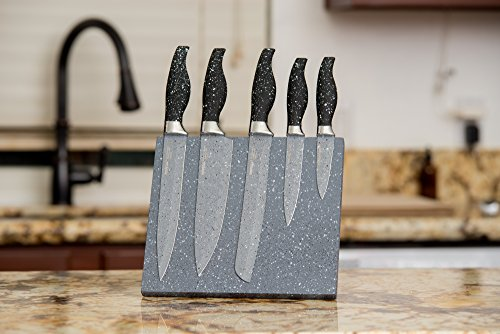 6 Piece Stainless Steel Knife Set with Magnetic Marble Block