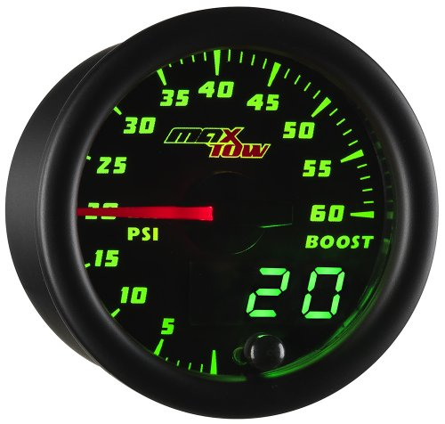 (MaxTow Double Vision 60 PSI Turbo Boost Gauge Kit - Includes Electronic Pressure Sensor - Black Gauge Face - Green LED Illuminated Dial - Analog & Digital Readouts - for Diesel Trucks - 2-1/16