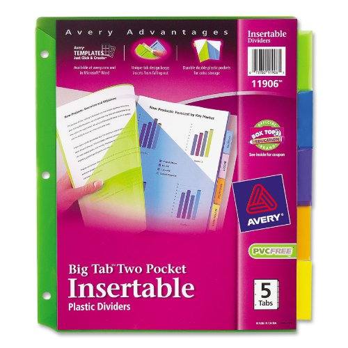 Avery Big Tab Two-Pocket Insertable Plastic Dividers, 5-Tab Set (11906), Office Central