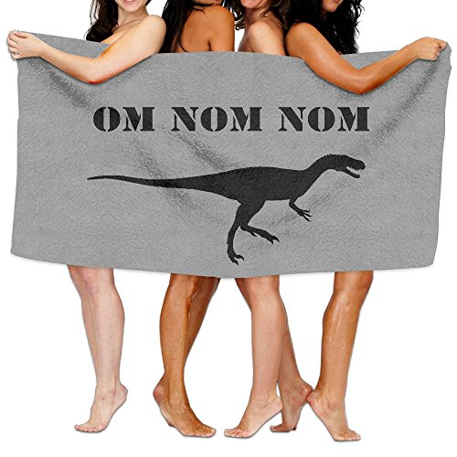 Unisex Om Nom Nom Dinosaur Rawr Beach Towels Washcloths Bath Towels For Teen Girls Adults Travel Towel Pool And Gym Use 31x51 Inches]()