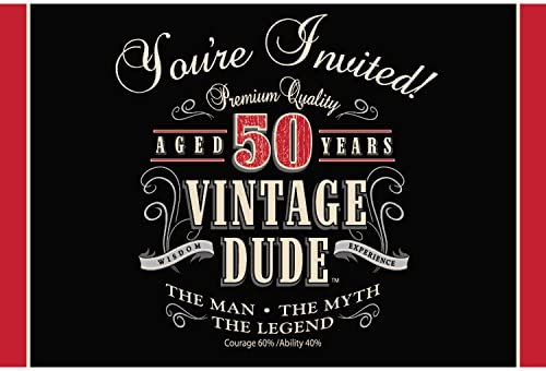 Amazon Club Pack Of 48 Vintage Dude 50th Birthday Party Gatefold Paper Invitations 6 Kitchen Dining