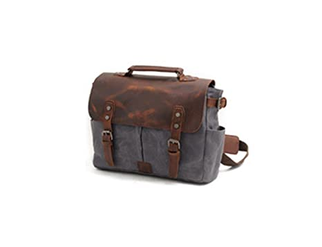 34a250ecfb8 Mens Messenger Bag,Handmade Cross Body Bag Leather Laptop Briefcase Waxed Canvas  Shoulder Bag with