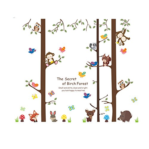 AWAKINK Cartoon Forest Giant Brown Tree Animals Owl Bird Fox Monkey Wall Stickers Wall Decal Vinyl Removable Art Wall Decals for Girls and Boys Nursery Room Children's Bedroom (Girl Fox Window Decals)
