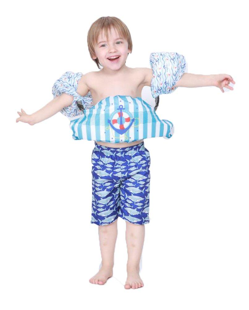 Kids Flotation Suit水着ライフベストジャケットfor Toddler Swim Training Aid withウエストバンドとアームバンド Medium ブルー B07D2CDVRZ