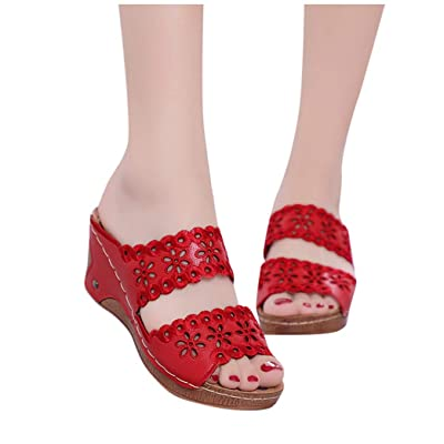 Fudule Women Comfy Sandals Hollow Out Wedges Platform Sandal Peep Toe Summer Beach Travel High Heels Shoes Slippers: Clothing