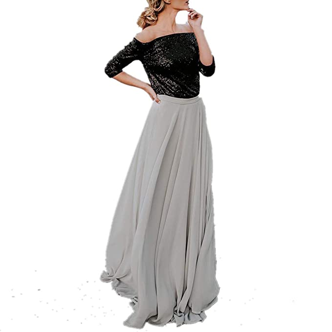 151a109cd1c Womens Maxi Skirts High Waist A-line Solod Color Chiffon Long Skirt Long  Tail Pleated