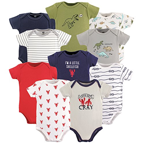 Hudson Baby Boy and Girl 10 Pack Bodysuits, Dinosaurs & Crayfish, 3-6 Months