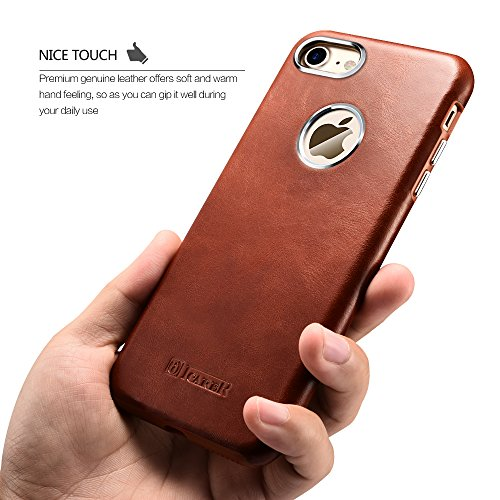 Custodia iPhone 7, ICARER Ultra Sottile Leggero Protettiva Cover Custodia in Pelle Back Cover Case per iPhone 7 4,7 Pollice (Marrone)