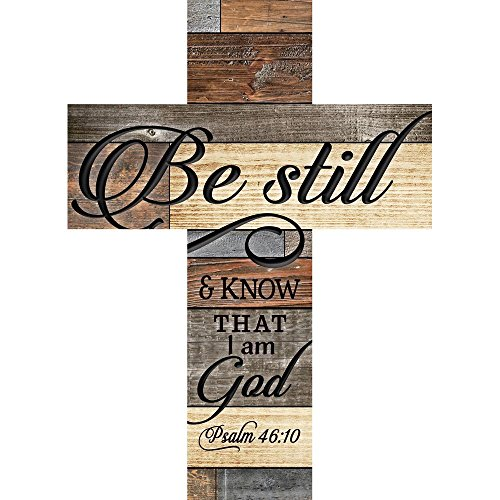 P. GRAHAM DUNN Be Still Know That I Am God Multi-Colored 24 x 18 Wood Wall Art Plaque Cross Review