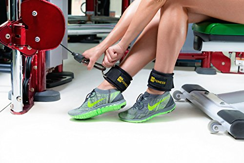 PeoBeo Fitness Ankle Straps for Cable Machines and Resistance Bands for Men and Women Neoprene Padded Ankle Cuffs for Weight Lifting & Leg Gym Workout by (Black Pair)