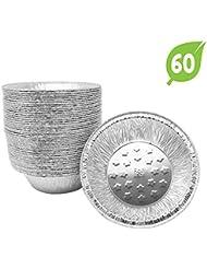 (60 Pack) Premium Aluminum Foil 5-Inch Pie Pans l Top Baker's Choice Disposable Tin Baking Pan Oven Safe Sturdy