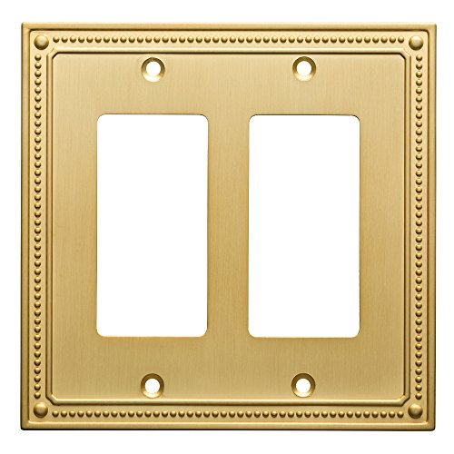 Cover Brass (Franklin Brass W35065-BB-C Classic Beaded Double Decorator Wall Plate/Switch Plate/Cover, Brushed Brass)