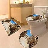 Printsonne Non-Slip Bathroom Rug Mats Set of Abandoned Sets of The Movie in Tunisia Desert Phantom Galaxy Wars Themed 3 Pieces Microfiber Soft