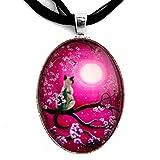 Zen Siamese Cat Sakura Necklace Magenta Pink Moon Handmade Jewelry Art Pendant