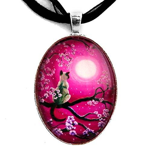 Laura Milnor Iverson Zen Siamese Cat Sakura Necklace Magenta Pink Moon Handmade Jewelry Art Pendant