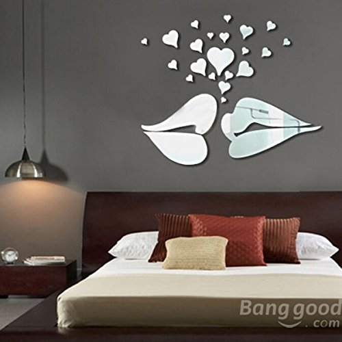 C&C Products Love Kiss Lips Hearts Pattern Mirror Wall Art Stickers
