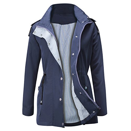 FISOUL Raincoats Waterproof Lightweight Rain Jacket Active Outdoor Hooded Women's Trench Coats