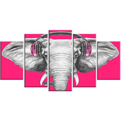 Designart PT13208-373 Elephant with Headphones Contemporary Animal Art Canvas, 60x32, Grey/Pink