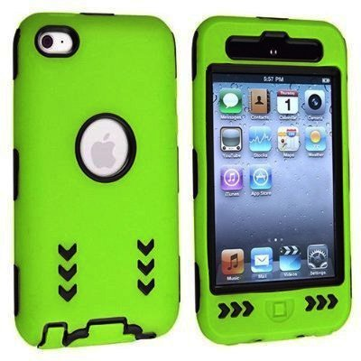 Black Hard/ Green Skin Arrow Hybrid Case Cover compatible with Apple iPod Touch 4G, 4th Generation, 4th Gen 8GB / 32GB / 64GB