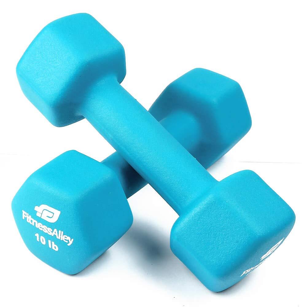Fitness Alley 10lb Neoprene Dumbbell Set Coated for Non Slip Grip - Hex Dumbbells Weight Set - Hand Weights Set - Neoprene Weight Pairs - Hex Hand Weights - Set of Two Neoprene Dumbbells, Sea Green